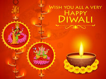 Goddess Lakshmi and Lord Ganesha in Happy Diwali holiday of India Royalty Free Stock Images