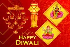 Goddess Lakshmi and Lord Ganesha in Happy Diwali holiday of India Stock Images