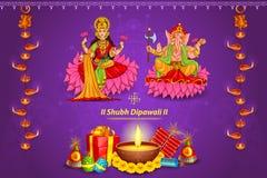 Goddess Lakshmi and Lord Ganesha in Happy Diwali holiday of India Royalty Free Stock Image