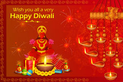 Goddess lakshmi sitting on lotus for Happy Diwali holiday of India Royalty Free Stock Photo