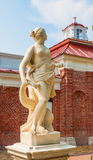 The goddess of love, Venus (Aphrodite). Ancient marble sculpture of goddess of love, Venus (Aphrodite) located on terrace of Palace Monplaisir in Peterhof Stock Photography