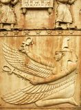 Goddess Maat. Fragment of Egyptian gate in Pushkin Stock Photography