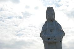 Goddess of Mercy. Closeup view of Goddess of Mercy statue in buddhist temple in Zhongzheng Park, Keelung, Taiwan Stock Photos