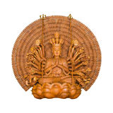 The Goddess of Mercy Guanyin Buddha pagoda a thousand hands wood Royalty Free Stock Photo