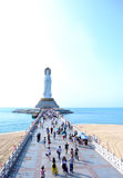 Goddess of mercy statue at seaside in nanshan temple, hainan island Stock Images