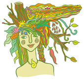 Goddess Mother Nature. Symbol of the spirit of nature - hand drawing vector illustration Royalty Free Stock Photo