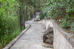 Goddess Path. A mountain road leads to a goddess encased in glass. The road has bamboo and rock scenes stock images