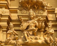 Goddess Saraswati on Sri Naheshwara temple in Bangalore. Stock Photos