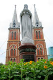 Goddess stand in front of the cathedral. Goddess stand in front of the cathedra in saigon Vietnam Stock Photo