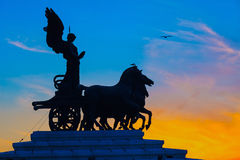 Goddess Victoria riding on quadriga, Rome. Goddess Victoria riding on quadriga, National Monument to Vittorio Emanuele II in Rome Stock Photo