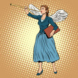 Goddess of victory Nike businesswoman concept. Pop art style retro. The ancient myth. A symbol of victory and success. Good news. The Herald angel Royalty Free Stock Images