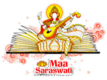 Goddess of Wisdom Saraswati for Vasant Panchami India festival background Stock Image