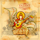 Goddess of Wisdom Saraswati for Vasant Panchami India festival background. Illustration of Goddess of Wisdom Saraswati for Vasant Panchami India festival Stock Image