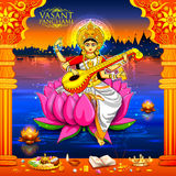 Goddess of Wisdom Saraswati for Vasant Panchami India festival background. Illustration of Goddess of Wisdom Saraswati for Vasant Panchami India festival Stock Photo