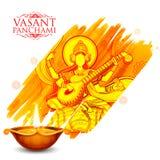 Goddess of Wisdom Saraswati for Vasant Panchami India festival background. Illustration of Goddess of Wisdom Saraswati for Vasant Panchami India festival Stock Photo