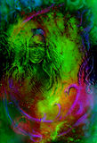 Goddess woman in cosmic background. Painting and graphic design. Glass effect. Royalty Free Stock Images