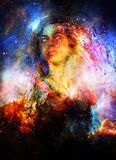 Goddess Woman in Cosmic space. Cosmic Space background. Royalty Free Stock Photo