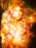 Goddess Woman in Cosmic space. Cosmic Space background. eye contact. Fire effect. Goddess Woman in Cosmic space. Cosmic Space background. eye contact. Fire royalty free stock image