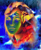 Goddess woman,  face and tree, and color abstract Royalty Free Stock Photography