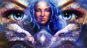 Goddess Woman in space with light stars and eagles head, eyes women. Eye contact, Abstract color background. Royalty Free Stock Photos