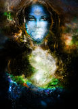 goddess woman and symbol Yin Yang in cosmic space. Royalty Free Stock Photo