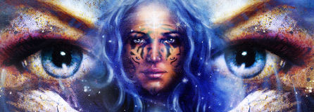 Goddess Woman with tattoo on face in space with light stars. Royalty Free Stock Photography