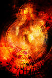 Goddess Woman and zodiac. Cosmic background. Fire effect. Stock Photos