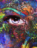 Goddess women eye, multicolor background with Stock Photo