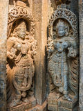 Goddesses. Carvings of goddesses at the 13th Century temple of Somanathapur, South India royalty free stock images
