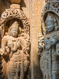 Goddesses. Carvings of goddesses at the 13th Century temple of Somanathapur, South India royalty free stock photo