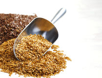 Goden et graines de lin brunes Photos stock