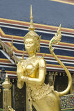 The Goden Kinnaree in Temple of The Emerald Buddha (Wat Phra Kaew), BANGKOK, THAILAND Stock Photos