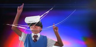 Godere d'uso della cuffia avricolare di realt? virtuale dello scolaro illustrazione di stock