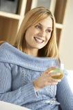 godere dei giovani di vetro della donna del vino Fotografie Stock Libere da Diritti