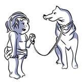 Godere del bambino e del cane illustrazione vettoriale