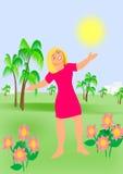 Godere del Sun illustrazione di stock