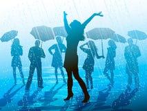 Godere della pioggia illustrazione vettoriale