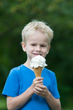 Godere di un gelato Immagini Stock