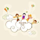 Godere e celebrazione sveglie dei bambini occasionalmente dell'indiano Republi illustrazione di stock