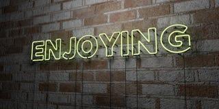 GODERE - Insegna al neon d'ardore sulla parete del lavoro in pietra - 3D ha reso l'illustrazione di riserva libera della sovranit royalty illustrazione gratis