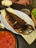 Godeungeo gui -烤韩国鲭鱼盘 免版税库存照片