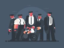 Godfather of mafia. Man in wheelchair and group of gangsters. Vector illustration Royalty Free Stock Photo
