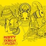 Godin Durga op de Gelukkige Dussehra achtergrond van Subho Bijoya Stock Fotografie