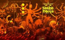 Godin Durga op de Gelukkige Dussehra achtergrond van Subho Bijoya Stock Afbeeldingen