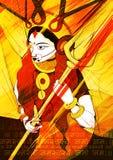 Godin Durga op de Gelukkige Dussehra achtergrond van Subho Bijoya Royalty-vrije Stock Foto