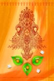 Godin Durga tegen Waterverfachtergrond Stock Foto's