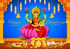 Godin Lakshmi op de Gelukkige achtergrond van de de Vakantiekrabbel van Diwali Dhanteras Stock Foto