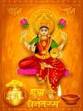 Godin Lakshmi op de Gelukkige achtergrond van de de Vakantiekrabbel van Diwali Dhanteras Stock Afbeeldingen