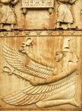 Godin Maat. Fragment van Egyptische poort in Pushkin Stock Fotografie