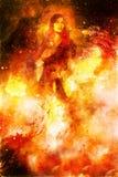 Godinvrouw die kosmisch licht zwaard houden Kosmische achtergrond Brandeffect stock illustratie